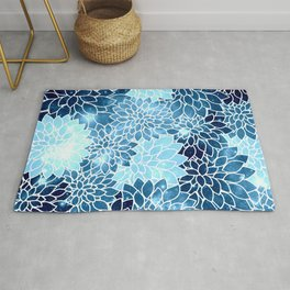 Space Dahlias Blue Ice Rug