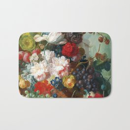 Fruit and Flowers in a Terracotta Vase by Jan van Os Bath Mat