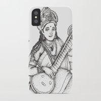 hindu iPhone & iPod Cases featuring Hindu Deity_Saraswati  by The Artful Yogini