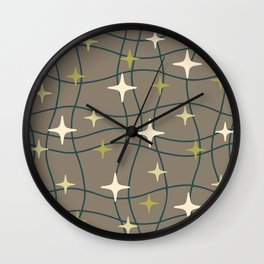 Mid Century Modern Cosmic Star Pattern 693 Teal Green Beige and Olive Green Wall Clock