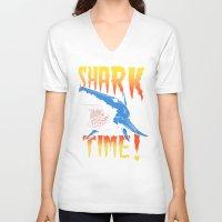 shark V-neck T-shirts featuring Shark by Silver Larrosa
