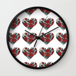 Vintage Rose Heart Wall Clock