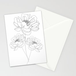 Minimal Line Art Flowers Stationery Cards