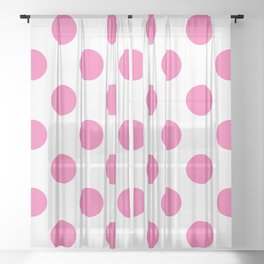 Geometric Candy Dot Circles - Strawberry Pink on White Sheer Curtain