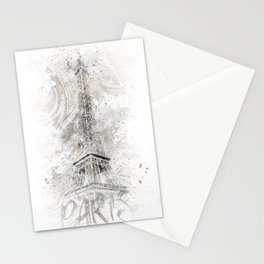 Modern Art EIFFEL TOWER   watercolor gold Stationery Cards
