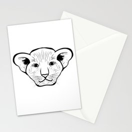 Black silhouette of a lion cub face. Lovely lion for pam, moms and toddlers, accessories. Stationery Cards