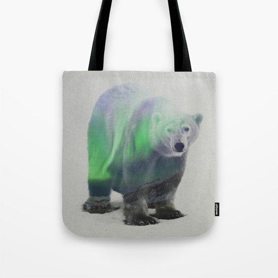 Polar Bear In The Aurora Borealis Tote Bag