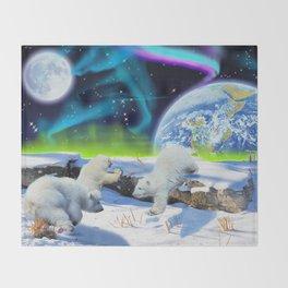 Joyful - Polar Bear Cubs and Planet Earth Throw Blanket