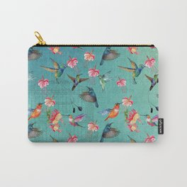 Vintage Watercolor hummingbirds and fuchsia flowers Carry-All Pouch