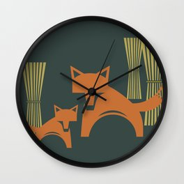 Foxes in the Harvest Wall Clock