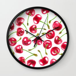 Watercolor cherries pattern Wall Clock