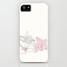 Pretty French Bulldog and the Pink Lily iPhone Case