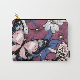 Beautiful pattern with flowers and butterflies Carry-All Pouch