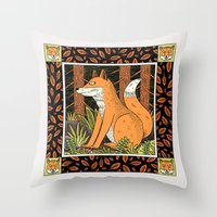 foxes Throw Pillows featuring Foxes by Jack Teagle
