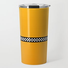 NY Taxi Cab Yellow with Black and White Check Band Travel Mug