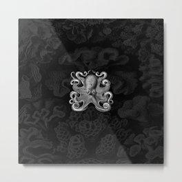 Octopus1 (Black & White, Square) Metal Print