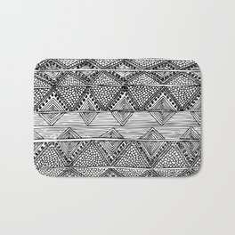 Abstract black and white digitised hand drawing art Bath Mat