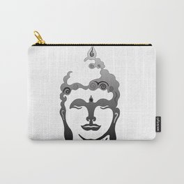 Buddha Head grey black white background Carry-All Pouch