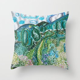 cheerful handmade embroidery in the digital world Throw Pillow