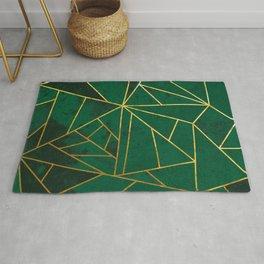 Emerald Green Geometric Gold Lines Rug
