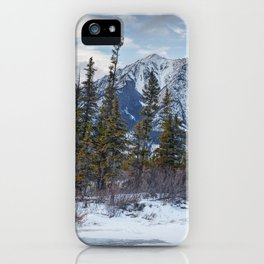 Pines at the edge of a lake in Jasper National Park iPhone Case