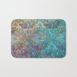 Pastel  Turquoise watercolor  OM symbol pattern Bath Mat