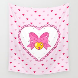 PuppyCat Cat Bow Heart Bell Wall Tapestry