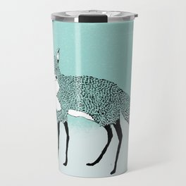 Fox in the snow – Animal Illustration – Kitsune in snow scene – vintage colors – antiqued colors Travel Mug