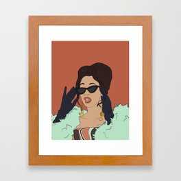 Cardi B Illustration-- Female Rapper Framed Art Print
