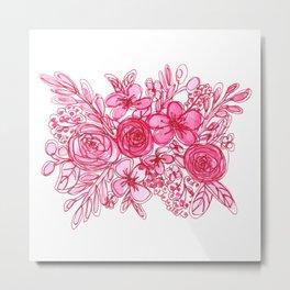 Pink Floral Bouquet Monochrome Watercolor Metal Print