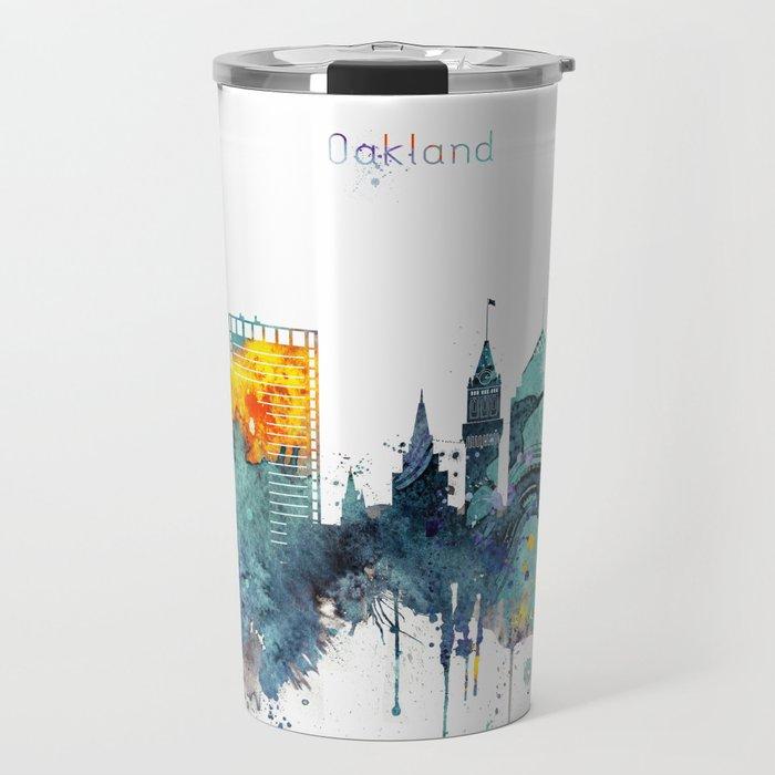 Watercolor Oakland skyline cityscape Travel Mug