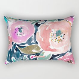 GARDENS OF CAPITOLA Watercolor Floral Rectangular Pillow