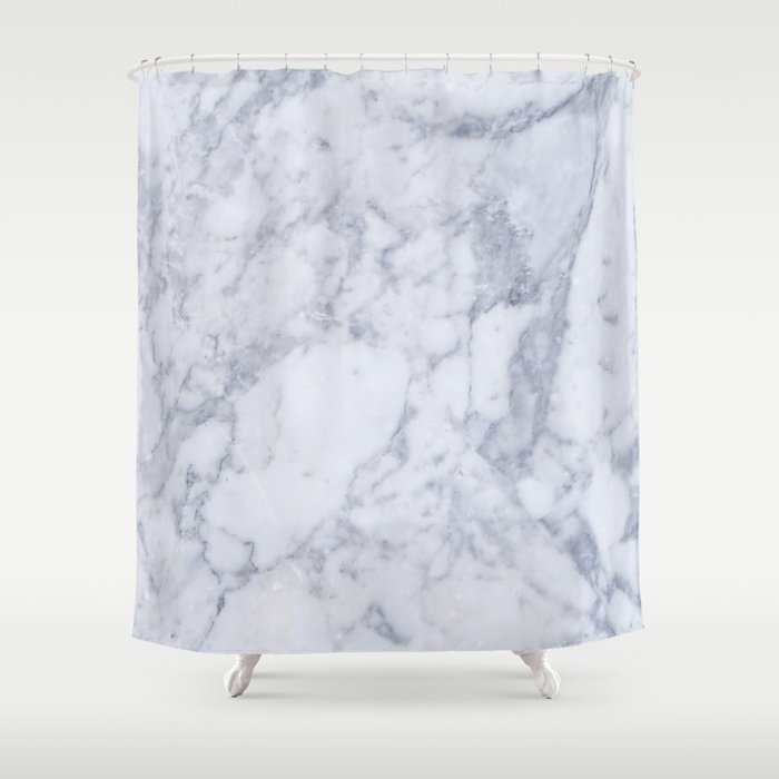 Gray And White Marble Texture Shower Curtain By Artonwear