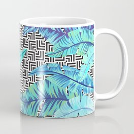 turquoise tropical leaves Coffee Mug