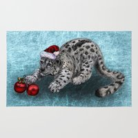 snow leopard Area & Throw Rugs featuring Snow Leopard by Anna Shell