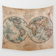 Vintage Map of the World 1800 Wall Tapestry