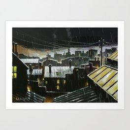 Rainy night in the factories Art Print