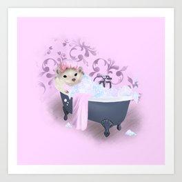 Hedgehog Bubble Bath Art Print