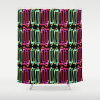 pen Shower Curtains featuring Pen Pals by inniv8z_oz