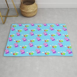Pink Hippo Flying With Balloons In Blue Sky Rug