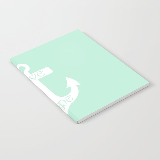 Love Hope Anchor Mint Green Notebook