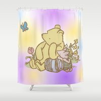 pooh Shower Curtains featuring Classic Pooh by kltj11