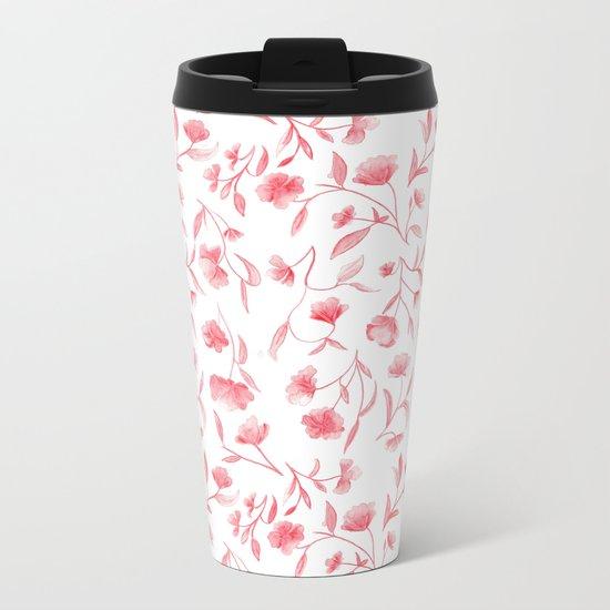 Red Watercolor Floral Pattern Metal Travel Mug