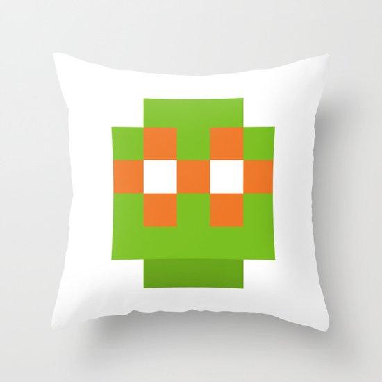 hero pixel green orange Throw Pillow