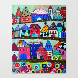 Mexican Town House of Colors Painting Canvas Print