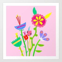 Paper Collage Blooms Art Print