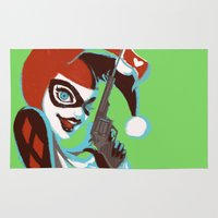 harley Area & Throw Rugs featuring Harley Quinn by Piano Bandit