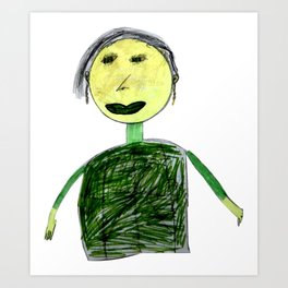 Children drawing of grandmother with felt-tip pens Art Print