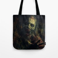 zombie Tote Bags featuring Zombie by Sirenphotos