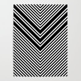 Back and White Lines Minimal Pattern No.1 Poster